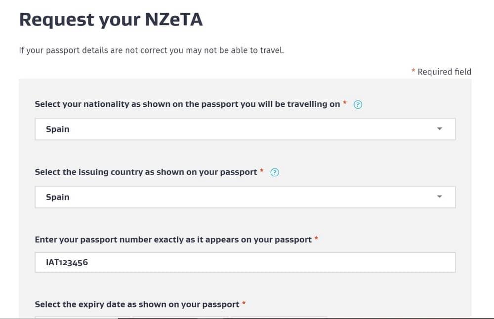 formulario para solicitar el permiso NZeTa a Nueva Zelanda
