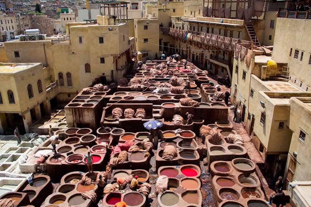 curtidores de piel en Marruecos