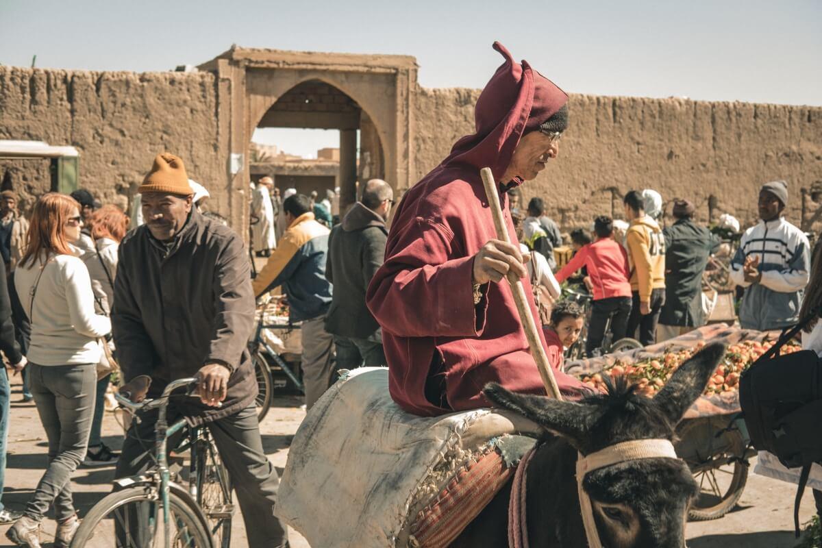 homem num burro às compras no mercado de rissani