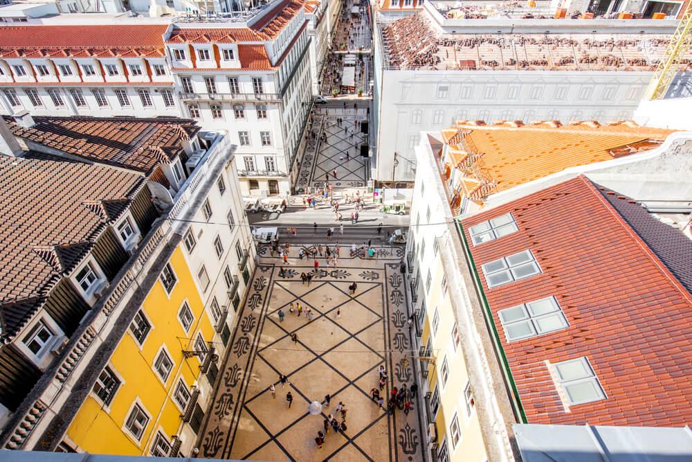 rua da augusta desde o miradouro do arco