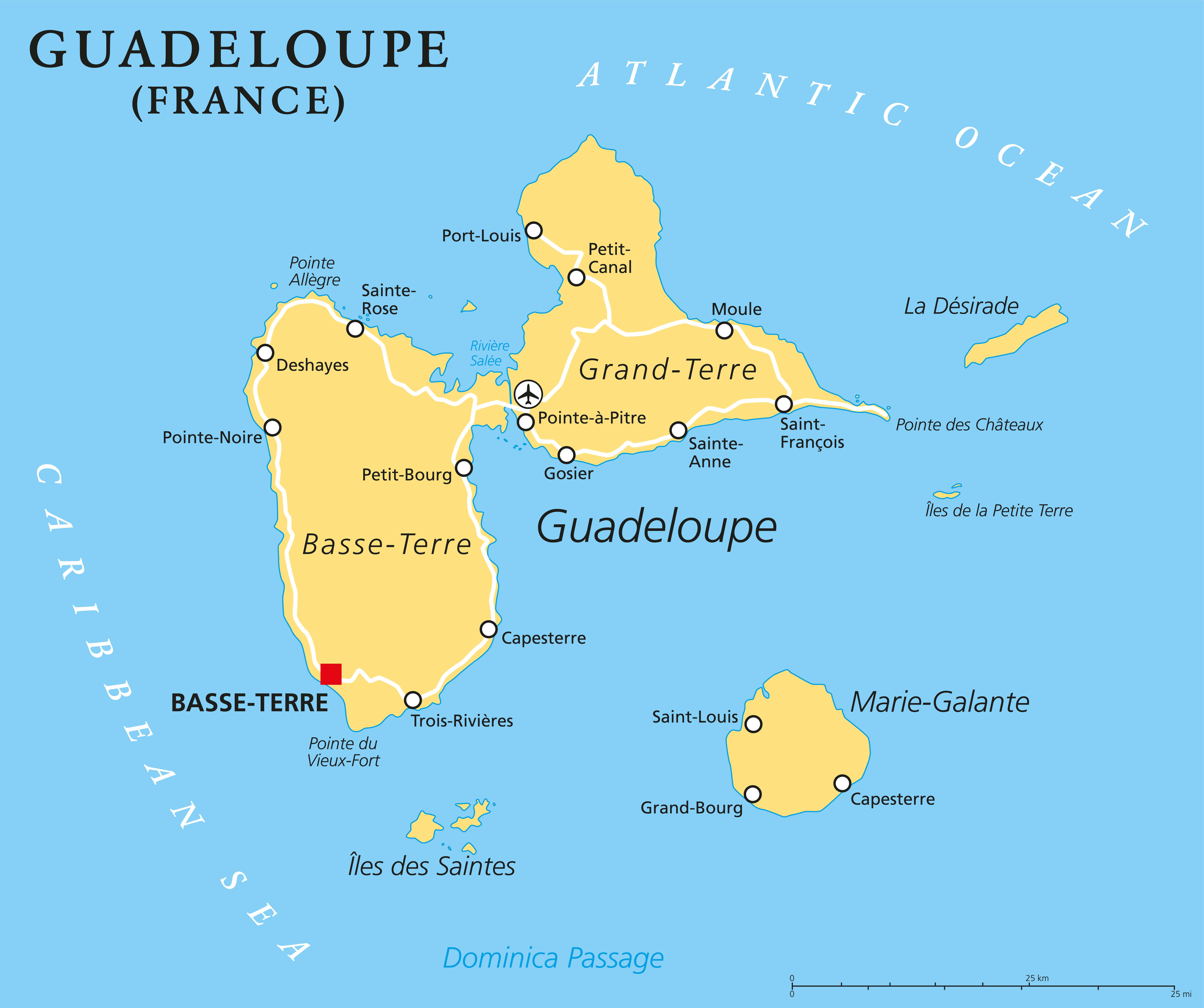 mapa da ilha de guadaloupe