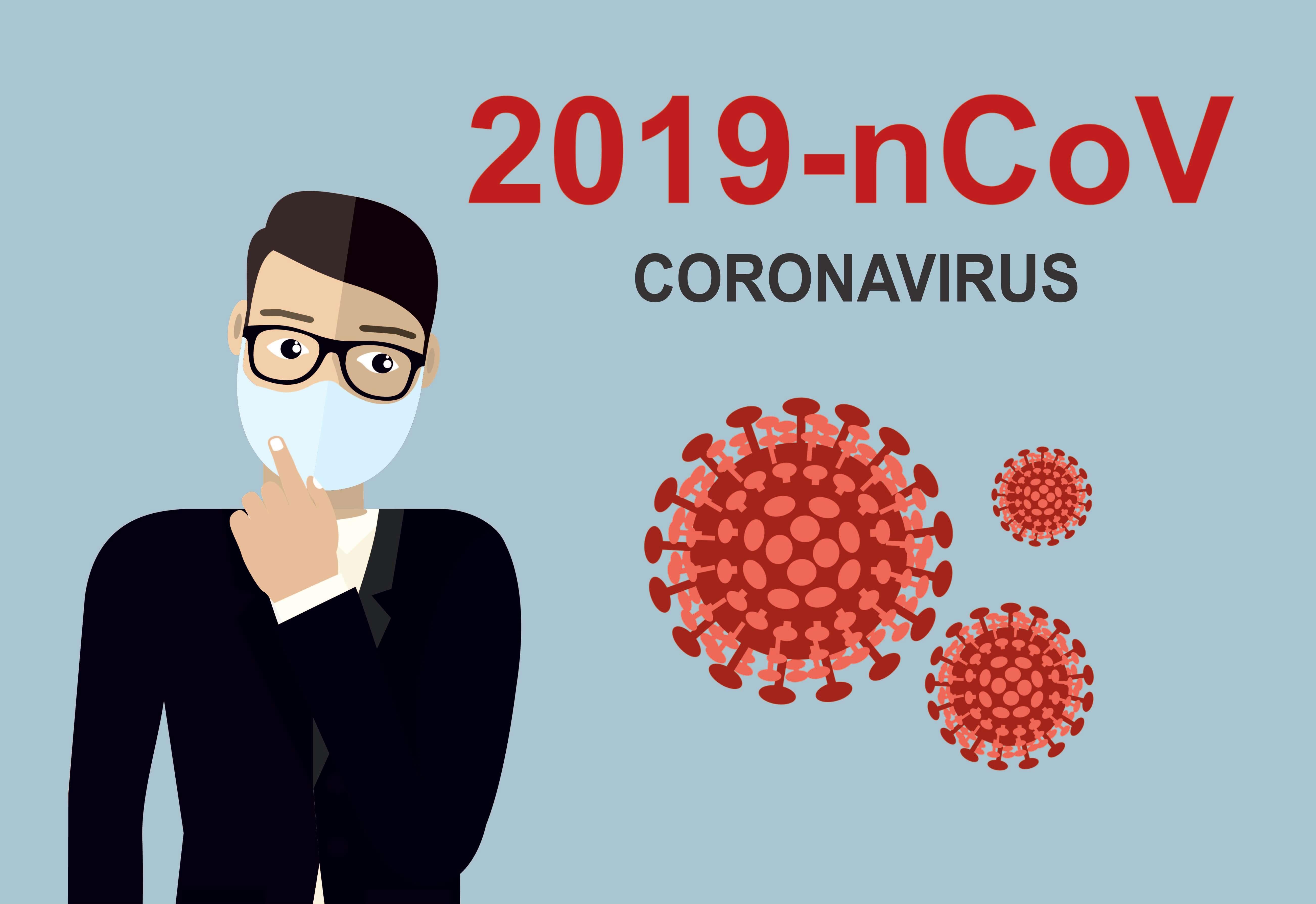 rapaz com mascara e imagens de coronavirus