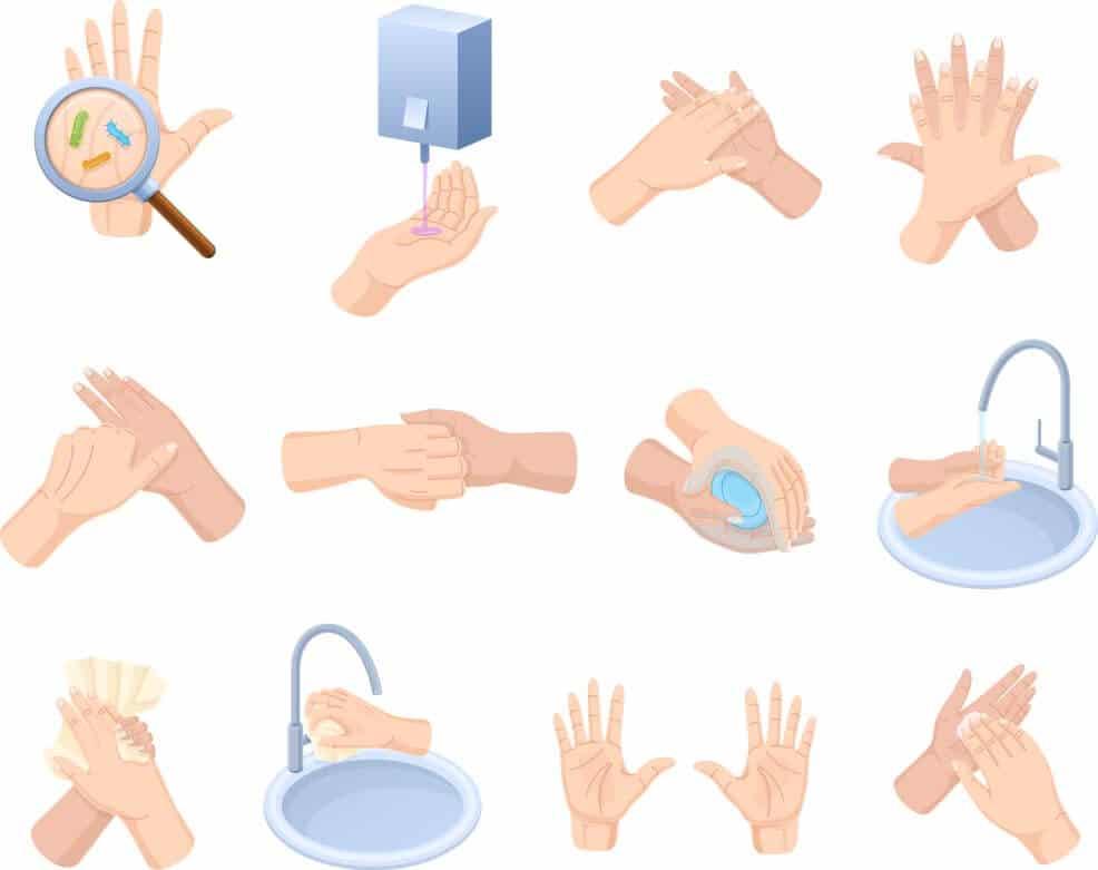 grafico sobre como lavar as maos corretamente