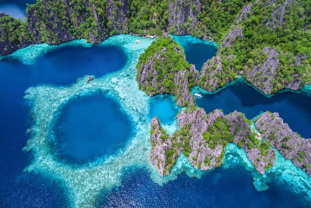 vista aerea da zona de palawan nas filipinas