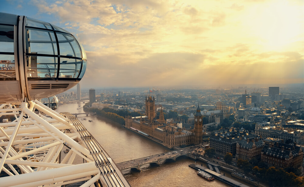 capsula do london eye e vista sobre a cidade