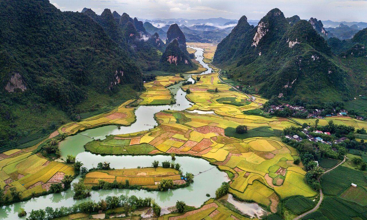rio e campos de arroz no vietname