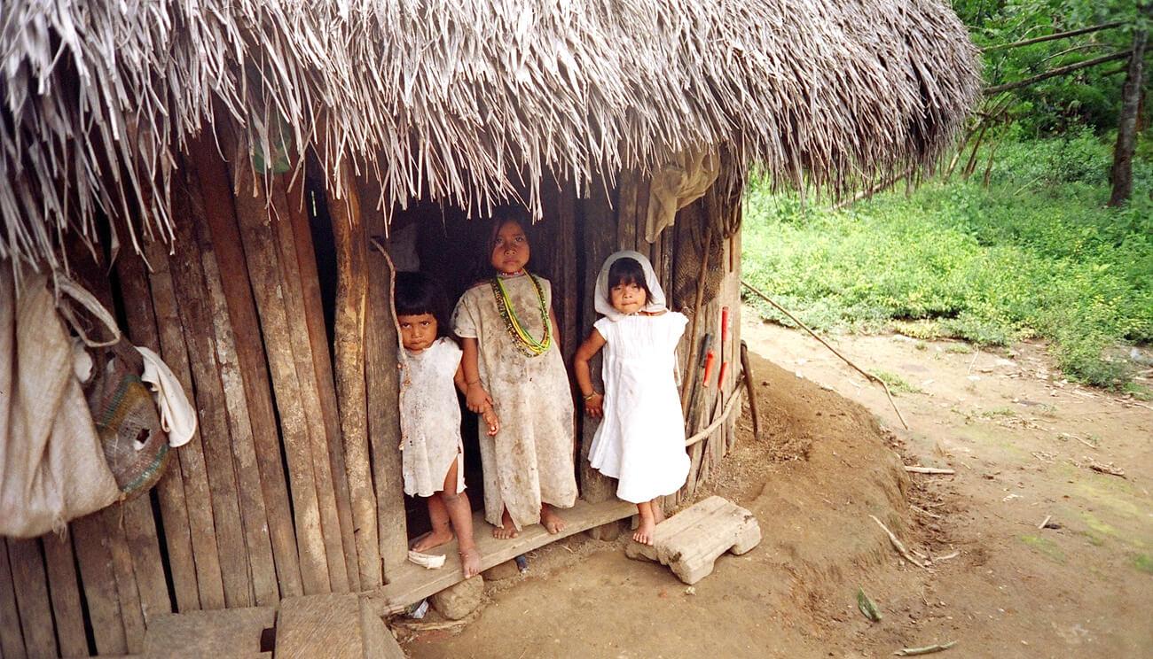 crianças wiwa numa palhota