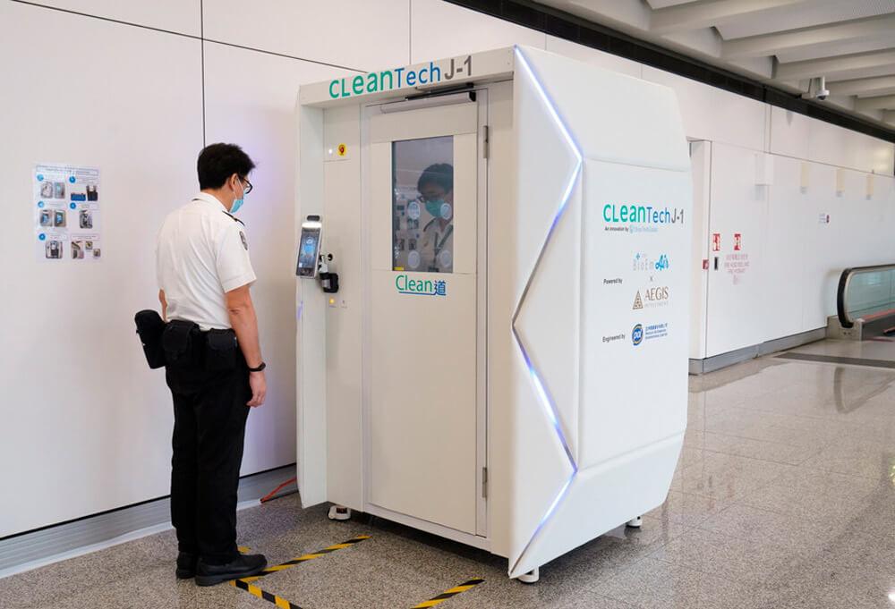 cabine desinfeçao aeroporto hong kong