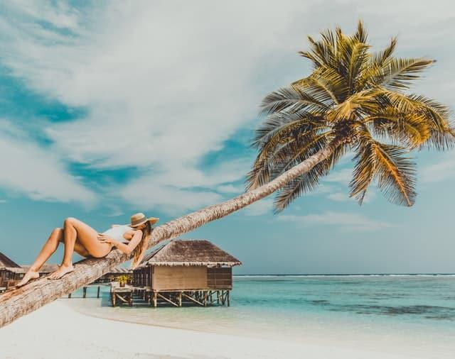 rapariga em cima de palmeira nas maldivas